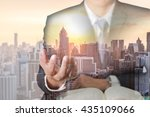 double exposure of businessman... | Shutterstock . vector #435109066