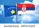 kosovo flag with serbia flag ... | Shutterstock . vector #435121642