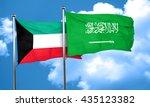 kuwait flag with saudi arabia...   Shutterstock . vector #435123382