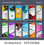 Collection of Roll Up Banner Design stand template, flyer, advertisement, display layout, vector illustration | Shutterstock vector #435140386