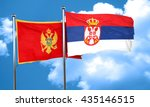 montenegro flag with serbia... | Shutterstock . vector #435146515