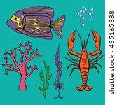 underwater colored set flat sea ... | Shutterstock .eps vector #435165388