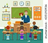 school classroom with... | Shutterstock .eps vector #435193936
