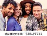 multi ethnic millenial group of ... | Shutterstock . vector #435199366