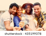 multi ethnic millenial group of ... | Shutterstock . vector #435199378