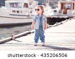 stylish baby girl wearing denim ... | Shutterstock . vector #435206506