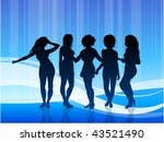 sexy young women on blue... | Shutterstock .eps vector #43521490