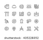 Stock vector simple set of engineering related vector line icons contains such icons as manufacturing 435228352