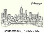 chicago skyline hand drawn... | Shutterstock .eps vector #435229432
