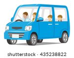 family riding the blue car... | Shutterstock .eps vector #435238822