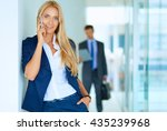 businesswoman standing against... | Shutterstock . vector #435239968