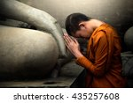 novices are worshiping buddha... | Shutterstock . vector #435257608