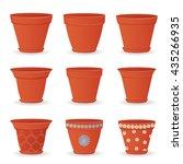 collection of empty flowerpots... | Shutterstock .eps vector #435266935
