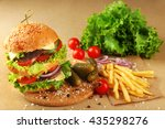 double hamburger with fries on... | Shutterstock . vector #435298276