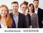 smiling group of young... | Shutterstock . vector #435305458