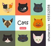 cats color flat set icon | Shutterstock .eps vector #435312058