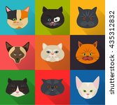 cats color flat set icon | Shutterstock .eps vector #435312832