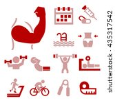 healthy and fitness icon set | Shutterstock .eps vector #435317542