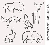 image line forest animals logo... | Shutterstock . vector #435318166