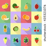 fruits flat set icons with the... | Shutterstock .eps vector #435321076