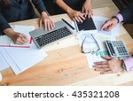 above angle of two business... | Shutterstock . vector #435321208