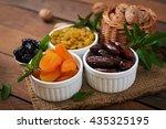 mix dried fruits  date palm...   Shutterstock . vector #435325195