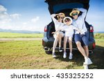 happy family enjoying road trip ... | Shutterstock . vector #435325252