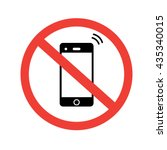 no phone sign. no talking and... | Shutterstock .eps vector #435340015