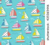 cute sail boat pattern.... | Shutterstock .eps vector #435365446