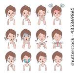 girl face emotion. girl avatars ... | Shutterstock . vector #435369865