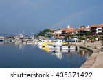view on the harbour of old... | Shutterstock . vector #435371422