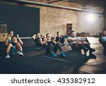 group of athletic adult men and ... | Shutterstock . vector #435382912