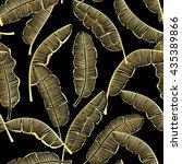 golden banana leaves seamless... | Shutterstock .eps vector #435389866