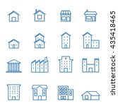 house building line blue icon   ...   Shutterstock .eps vector #435418465