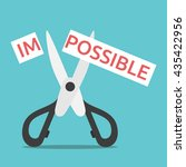 word impossible on paper cut in ... | Shutterstock .eps vector #435422956