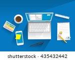 working equipment on desk ... | Shutterstock .eps vector #435432442