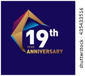 19th anniversary logo with gold ... | Shutterstock .eps vector #435433516
