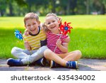 two happy children playing in... | Shutterstock . vector #435434002