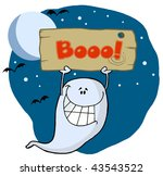 ghost holding up a wooden boo... | Shutterstock .eps vector #43543522