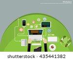 vector workplace business... | Shutterstock .eps vector #435441382