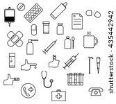 medicine icons set. line art... | Shutterstock .eps vector #435442942