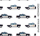 Seamless Pattern Of Police Cars.