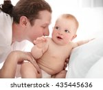 young father kissing his little ... | Shutterstock . vector #435445636