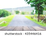 wood table top on blurred green ... | Shutterstock . vector #435446416