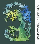 girl with vines. paper cutting... | Shutterstock .eps vector #435448372