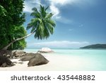 beach on mahe island in... | Shutterstock . vector #435448882