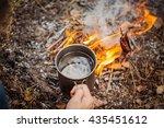 man traveler hands holding mug...   Shutterstock . vector #435451612