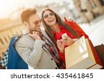 couple of tourists walking in a ... | Shutterstock . vector #435461845