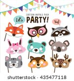 Set Of Cartoon Animals Party...