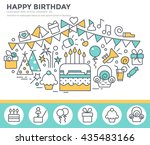 happy birthday greeting card... | Shutterstock .eps vector #435483166